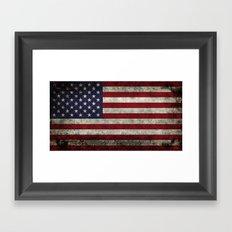 American Flag, Old Glory in dark worn grunge Framed Art Print