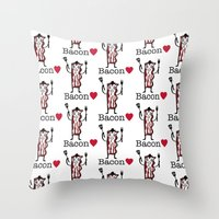 I Love Bacon Throw Pillow