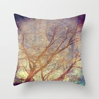 Galaxy + Nature Reflection Throw Pillow