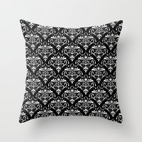 damask pattern back and white Throw Pillow