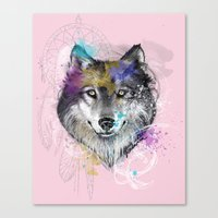 Sasha's Wolf Pink Canvas Print