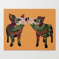 pig love amber Canvas Print
