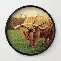 Scottish Highland Steer - regular version Wall Clock