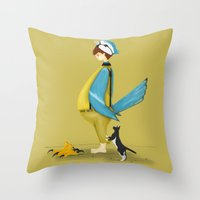 Blue Chickadee Throw Pillow
