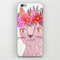 Cat with Floral Crown iPhone & iPod Skin