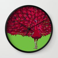 Peacock - Red Wall Clock
