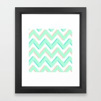 3D CHEVRON MINT/PEACH/TE… Framed Art Print