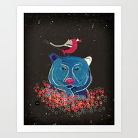Bullfinch And Bear Art Print