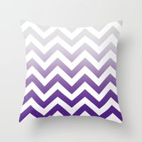 PURPLE FADE TO GREY CHEV… Throw Pillow