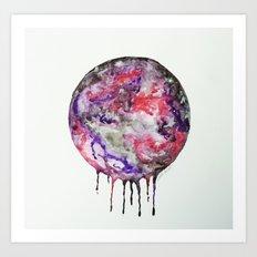 Watercolor Moon Drip Purple, Pink, Black,Grey,White Art Print