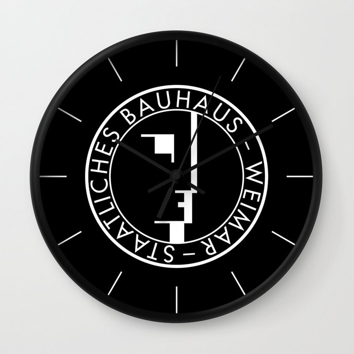 BAUHAUS LOGO BLACK Wall Clock By THE USUAL DESIGNERS