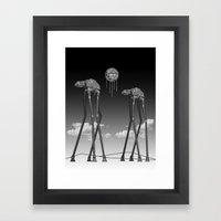 Dali's Mechanical Elephants - Black Sky Framed Art Print