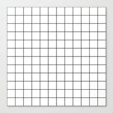 White Black Grid Minimalist Canvas Print