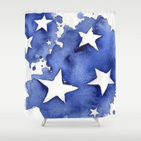 Stars Abstract Blue Watercolor Painting Shower Curtain