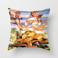 Glitch Pin-Up Redux: Xena Throw Pillow