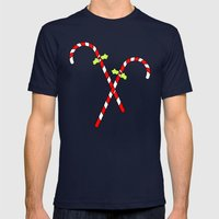 Christmas Cane Mens Fitted Tee Navy SMALL