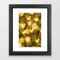 Light Bulb Hearts Series (Gold) Framed Art Print