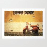 Vespa Orange Art Print