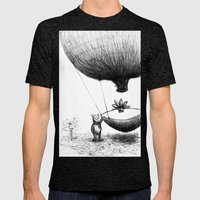 Zander and his Balloon  Mens Fitted Tee Tri-Black SMALL