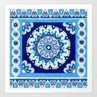 Indigo Tile Art Print