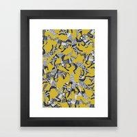 woodland fox party ochre yellow Framed Art Print