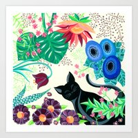 Natures Confetti Cat  Art Print