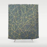 Ab Lines Gold and Navy Shower Curtain