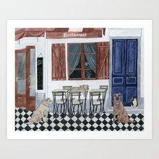 Sidewalk restaurant with blue doors Art Print
