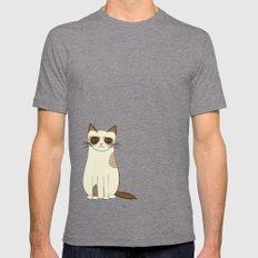 Grumpy Cat Mens Fitted Tee Tri-Grey SMALL