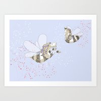 Horse Bees Art Print