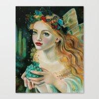 Fairy Face, Fairy with Butterfly Headdress Canvas Print