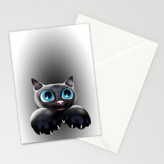Cute Kitty Cartoon with Blue Eyes - 3D Stationery Cards