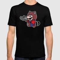 Rocket Tanooki  Mens Fitted Tee Black SMALL