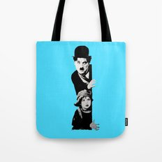 Chaplin and the kid - turquoise Tote Bag