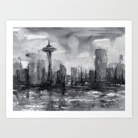 Seattle Skyline Painting Watercolor Black and White Space Needle Art Print