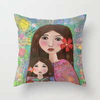 Mom and Daughter  Throw Pillow