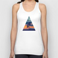 Palms and sunset triangle Unisex Tank Top