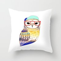 Hipster Owl, hipster, owl, owl art, illustration, print, children's, digital,  Throw Pillow