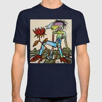 Her Flower Power Mens Fitted Tee Navy SMALL