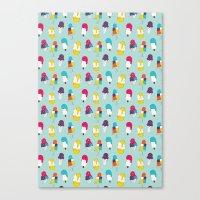 Ice cream pattern - light blue Canvas Print