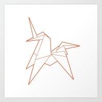 Origami Unicorn Art Print
