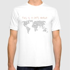 This is a Cat's World Mens Fitted Tee White SMALL