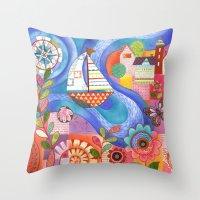 Summer Harbor Throw Pillow