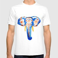 Elephant Watercolor Print Mens Fitted Tee White SMALL