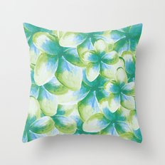 Blue Plumeria Floral Watercolor Throw Pillow