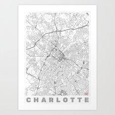 Charlotte Map Line Art Print