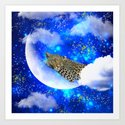 Relax in The moon Art Print