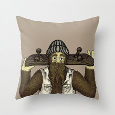 Skate Squatch Throw Pillow
