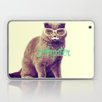 Turquoise Funny Cat Cute Hipster Glasses Mustache Laptop & iPad Skin