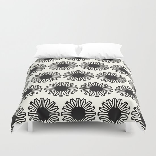 Vintage Flower_Black Duvet Cover
